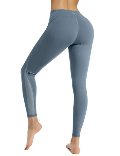 HAPYWER Sport Leggings mit Mesh Damen Sporthose Yogahose Laufhose Tights Fitnesshose Yoga Leggings für Damen (Stahlgrau, XL)