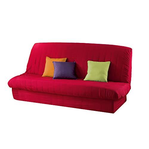 douceur d'intérieur 1603195 Housse de Clic Clac Mat avec Bande Socle en Polyester Rouge 200 x 185 cm