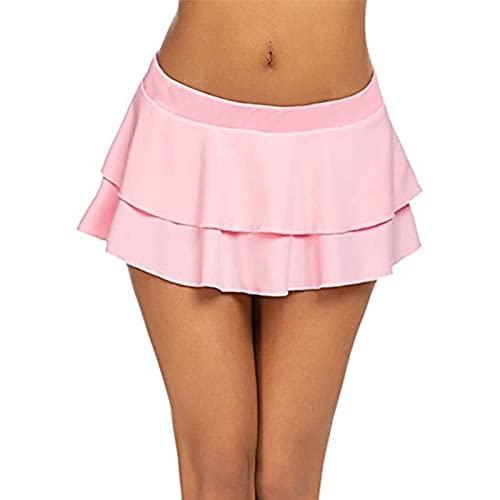 UKKO Falda De Tenis para Mujer Patinador De Tenis Faldas De Cintura Alta De Las Mujeres Faldas De Moda Solid Llaya Skater Flare Pleated Short Mini Faldas Calientes-Pink,S