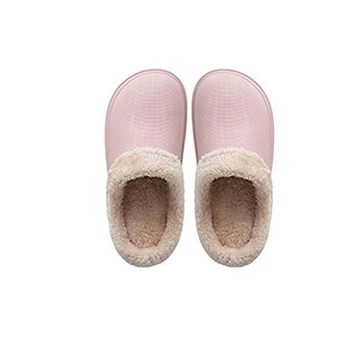 YLL Zapatillas Impermeables de Las Mujeres Inferior Grueso Zapatillas Peludo Zapatillas Calientes de Interior casero algodón Zapatillas de Goma PU Zapatillas (Color : A, Size : 42-43)
