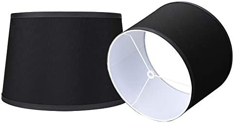 Double Medium Black Lamp Shades Set of 2 Alucset Drum Fabric Lampshades for Table Lamp and Floor product image