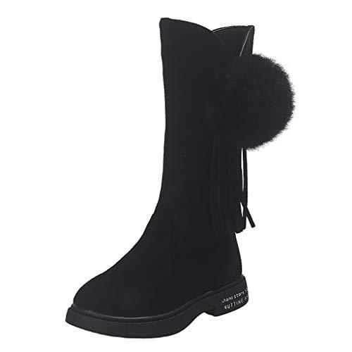Baohooya Botas para Niños de Invierno - Borla La Bola de Pelo Cremallera Felpa Caliente Botas de Nieve Zapatos de Bebé Niñas Suela Suave Primeros Pasos (11.5-12 años, Negro)