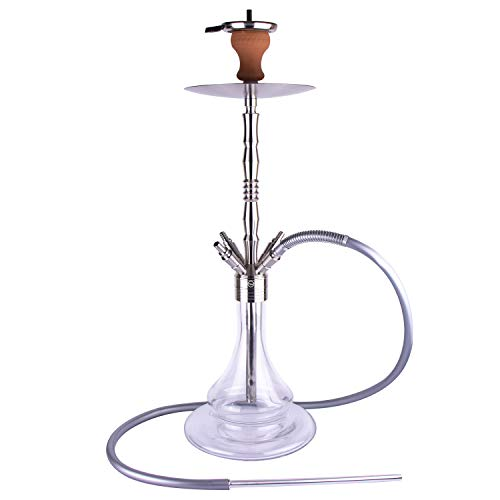 VeeBoost Hookah Set 30' Stainless Steel Shisha Accessories with Glass Water Bowl, 4 Tube Attachment, Charcoal Tray, and Large Base