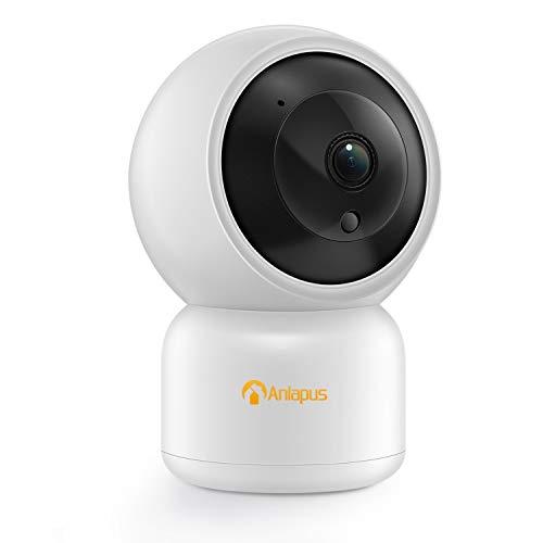 Anlapus Telecamera IP per Baby Monitor HD 1080p, Panoramica / Inclinazione 355 ° e 90 °, Audio Bidirezionale, Visione Notturna e Rilevamento del Movimento, Tracciamento del Bersaglio