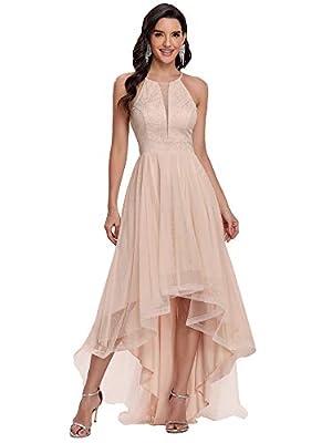Ever-Pretty Womens Elegant Sleeveless High Low Bridesmaid Dress Blush US6