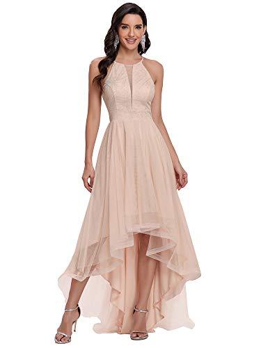 Ever-Pretty Vestido de Fiesta Escote Halter Alto Bajo Largo para Mujer Asimétrico sin Mangas Tul Sonrojo 46