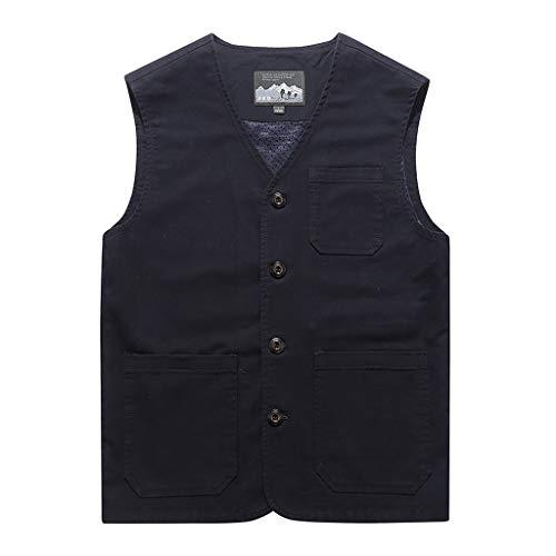 Fashion Vest Jacket for Men Denim Vest Casual Cowboy Jacket in Shoulder Blouse Navy