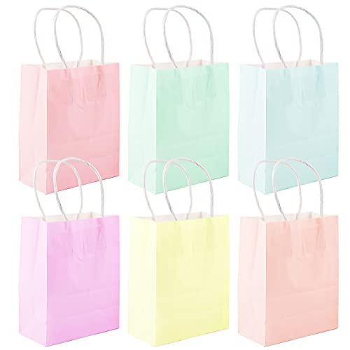 24pcs Bolsas de Papel 6 Colores Bolsas de Regalo con Asas 12 * 6 * 15cm para Fiestas Navidad Cumpleaños Regalos