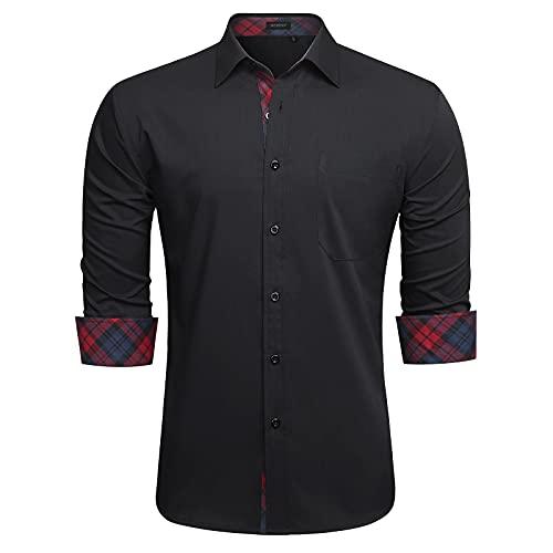 HISDERN Camisas Negro Hombres Camisa Hombre Manga Larga Ropa Camisas de Vestir...