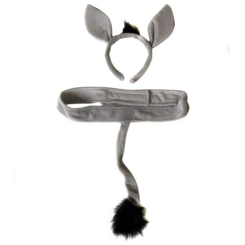 Plush Donkey Headband Ears and Tail Costume Set