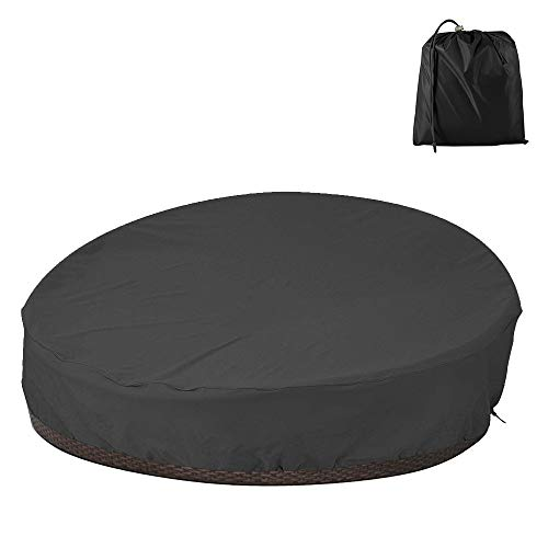 BullStar Patio Round Daybed Cover 90 Inch, Outdoor Garden Furniture Cover Heavy Duty Oxford Fabric Day Bed Sofa Cover Waterproof UV & Weather Resistant