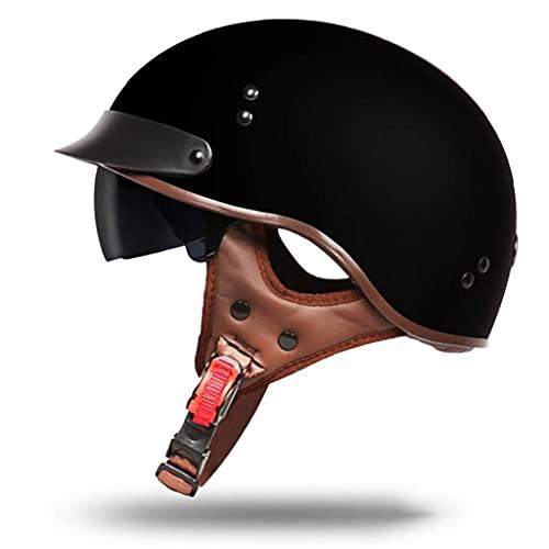 LAMZH Casco retro de Harley, aprobado por DOT, casco de motocicleta con visera UV, para hombre y mujer, protección (talla XL)