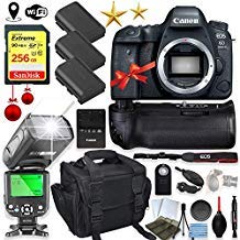 Canon EOS 6D Mark II DSLR Camera Body Only Kit with 256GB Sandisk Memory, TTL Speedlight Flash (Good Up-to 180 Feet), Pro Power Grip + Holiday Special Bundle