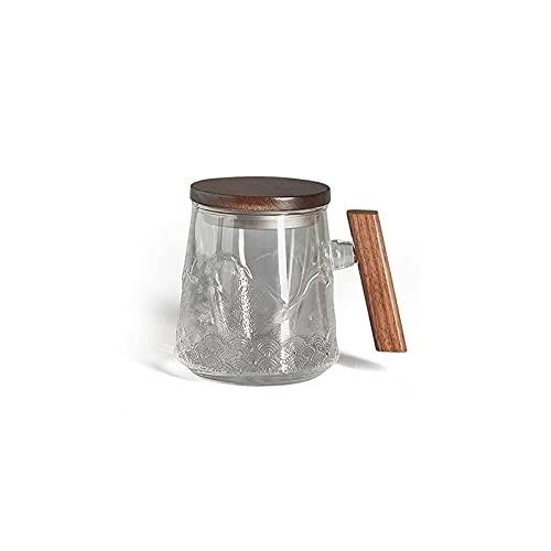 Dabeigouzbolb Glaser Glasschale-Teetasse mit Deckel, Holzgriff, 17 Unze, Tasse für Zuhause, Büro
