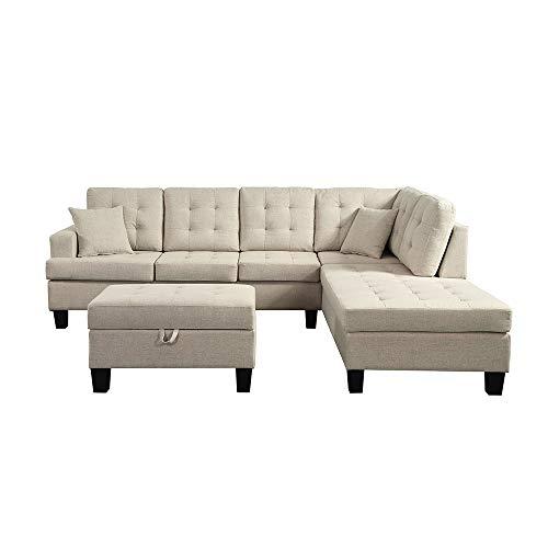 Home Deluxe - Ecksofa Florenz Links L-Form - Farbe Beige - 265,9 cm x 224,8 cm x 90,8 cm - inkl. Hocker | Sofagarnitur, Sofa, Couch, Wohnlandschaft