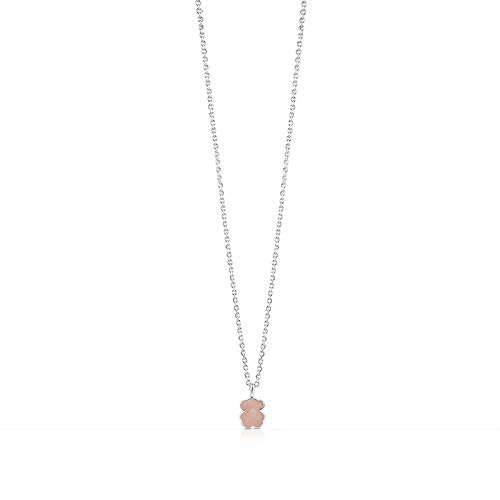 TOUS New Color - Gargantilla de Plata de Primera Ley y Oso en Cuarzo Rosa Facetado - Largo 45 cm