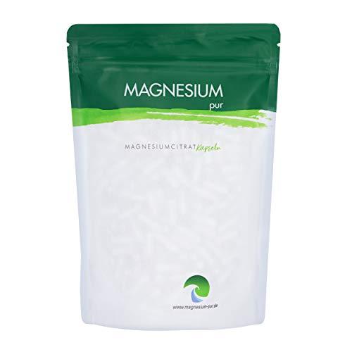 Magnesium-pur Magnesiumcitrat Kapseln vegan 500 Stück Beutel, hochdosiert 620mg Magnesiumcitrat pro Kapsel