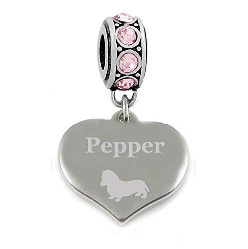 Charmed Jewellery Abalorio de Acero Inoxidable con Grabado Personalizado de Raza de Perro,...