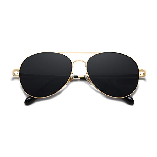 SOJOS Classic Aviator Mirrored Flat Lens Sunglasses Metal Frame with Spring Hinges SJ1030 with Gold Frame/Grey Lens