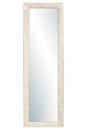 Chely Intermarket, Espejo de Pared Cuerpo Entero 35x140cm(41x146cm)/Beige y marrón/Mod-131,Aptos para peluquerías, salón, recibidor, Dormitorio y oficinas. Made in Spain-Material Madera.