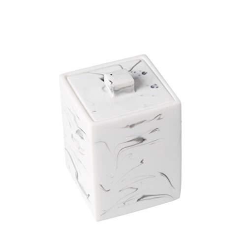 TOPBATHY Boîte à cotons-tiges en marbre avec couvercle pour cotons-tiges de maquillage, pot à cotons-tiges de maquillage