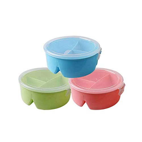 Heigmz FH Bento Box 3* Caja de almuerzo, portátil caja de almuerzo de trigo paja picnic microondas contenedor de almacenamiento de alimentos