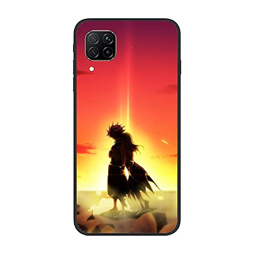 Sexeety Black Soft Rubber Thin Coque Fundas Shockproof Case for Huawei P40 Lite 4G-Fairy-Tail Cute Pattern 2