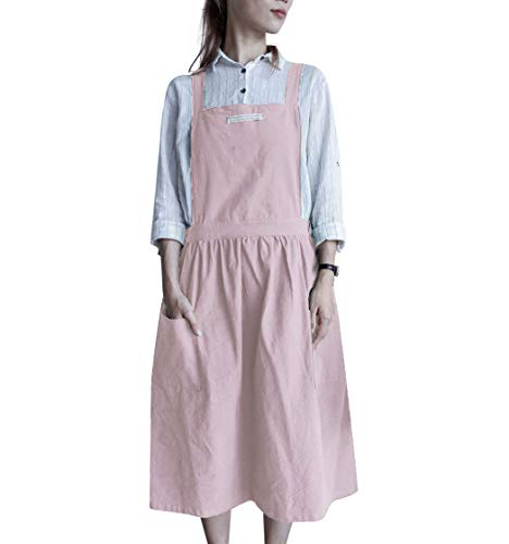 Nanxson Delantal de Trabajo de algodón con Espalda Cruzada para Mujer con...