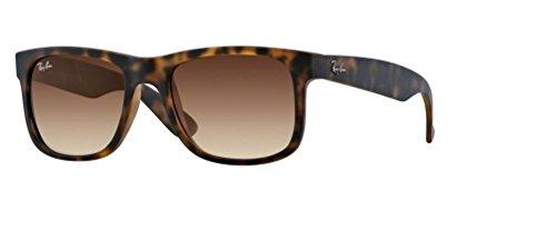 Ray-Ban RB4165 Justin rechteckige Sonnenbrille, Braun (Gummi Light Havana/Braun Farbverlauf), 54 mm