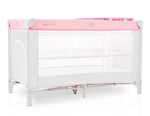 Kinderreisebett klappbar Laufstall Baby Kinderbett tragbare Zustellbett Infantastic Beistellbett Babycenter mit Matratze Seiteneingang Wickelauflage Tragetasche ab Geburt bis 15 kg Beige + Pink