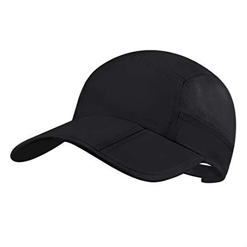 Folding Running Man Hat,Visors Sport Cap Summer Mesh Quick-Drying Hat Women Baseball Cap Hiking Breathable Waterproof Trucker Hat with 3.54in Brim 19-24in Adjustable Unisex Hat 63g Black QU19