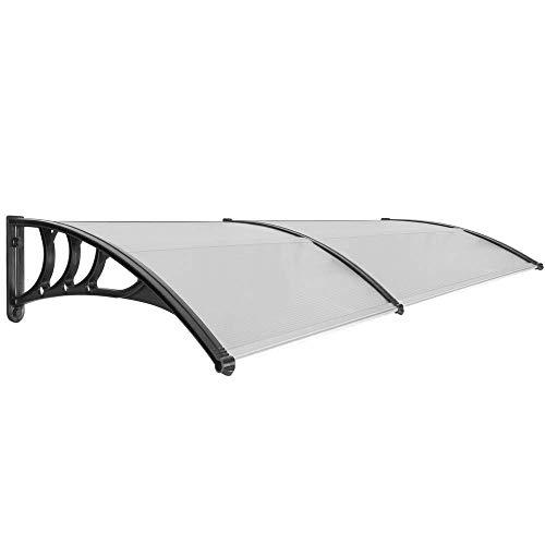 PrimeMatik - Tejadillo de protección 200x80 cm Gris Oscuro. Marquesina para Puertas y Ventanas con Soporte Negro