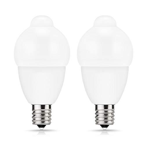 ロハス LED電球 E17口金 人感センサー付 40W形相当 昼白色 クリプトン電球形 全方向 小形 省エネ 防犯 消し忘れ防止 玄関・トイレ・廊下・階段 2個入