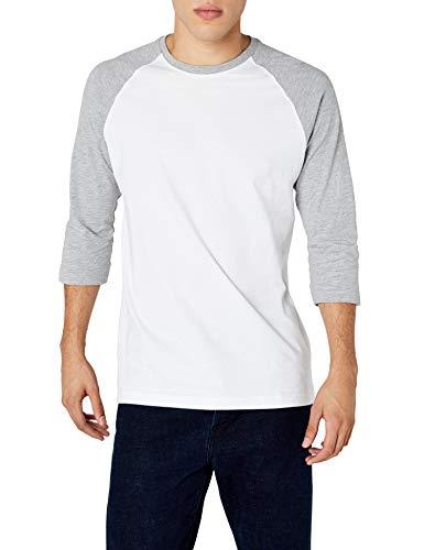 Urban Classics TB366 Herren 3/4 Sleeve Bekleidung T-Shirt, mehrfarbig (Wht/Gry), L
