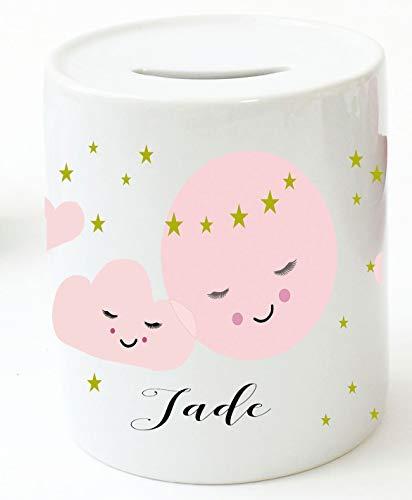Zarto Spardose Kinder für Mädchen mit Namen personalisiert – Prinzessin -- Keramik – Verpackung als Geld-Geschenk zur Taufe – Baby Taufgeschenk (Wolke)