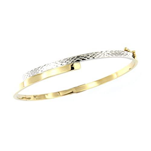 Lucchetta Schmuck, Goldarmband Damen 585 Echtgold, Armreif Gold bicolor Weißgold Gelbgold mit Gravur 14 karat, 5.25gr 18cm