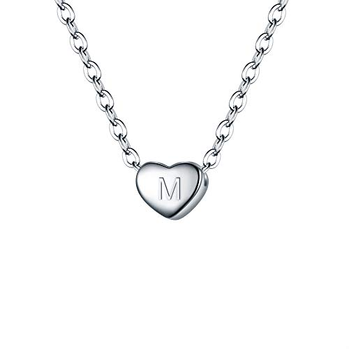 BriLove 925 Sterling Silver Tiny Initial Heart Necklace for Women Pendant Choker Necklace Letter M