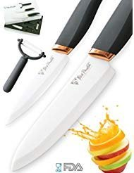 Premium Ceramic Knife Set 3-Piece (6 inches Chef Knife, 4 inches Slicing Paring Knife w/ Vegetable Peeler) | Ultra-Sharp Blades, Non-Slip Ergonomic Grip | BigPandaLife