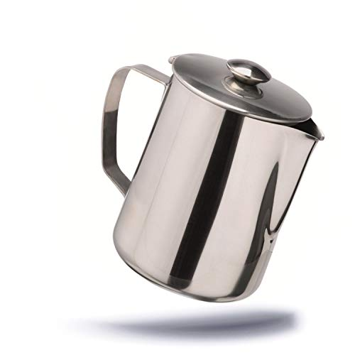 Kerafactum Kaffeekännchen Milchkännchen Teekanne Kaffeekanne Kännchen Kanne mit Deckel für Tee oder Kaffee 600 ml aus Edelstahl