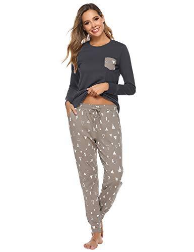 Aibrou dames pyjama lang pyjama set lang nachtkleding huispak lange mouwen ronde hals tweedelige Sleepwear