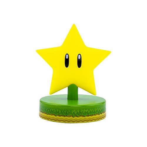 Paladone Mario Super Star 3D Icon Light BDP | Producto Oficial Coleccionable Nintendo | Idea de Regalo único | Luz Nocturna Brillante o lámpara de Escritorio | Funciona con 2 Pilas AAA, Amarillo