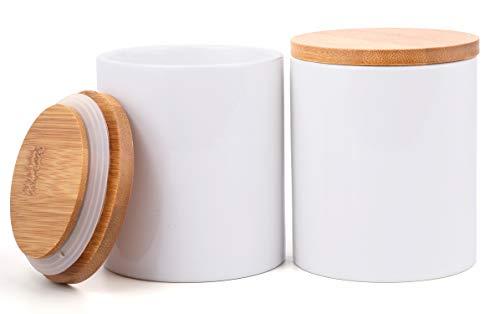 Lawei 2 Pack Ceramic Food Storage Jar with Airtight Seal Bamboo Lid - 10 oz Ceramic Canister Storage jar Sugar Bowl Salt Container Coffee Tea Jar