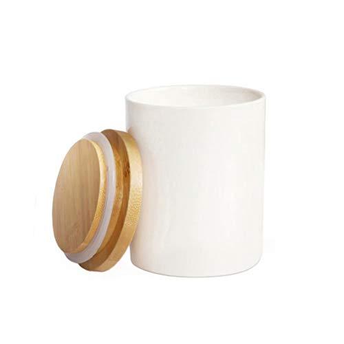 77L Vorratsdose, 300ML (10.13 OZ), Keramik Vorratsdose mit Luftdichtem Verschluss Bambusdeckel - Modernes Design Weißer Vorratsbehälter aus Keramik zum Servieren von Tee, Kaffee, Gewürz und mehr