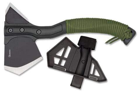 Hacha de acero inoxidable con empuñadura de nylon y funda de fibra ABS de medida total de 29 cm para Caza, Pesca, Camping, Outdoor, Supervivencia y Bushcraft + Portabotellas de regalo