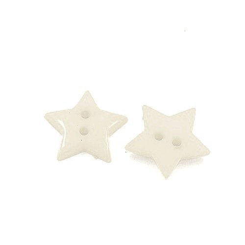 Pack of 50+ White Acrylic 19mm Star Buttons (2 Hole) - (HA09550) - Charming Beads