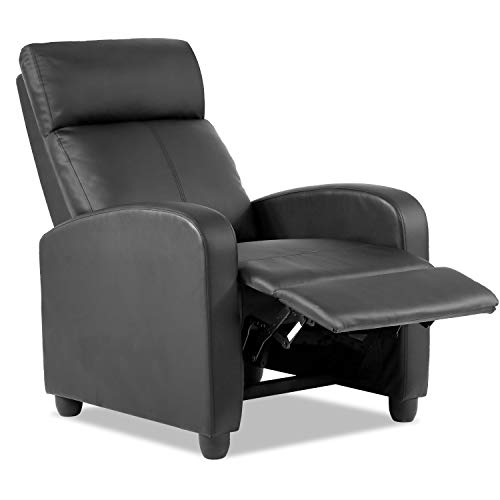 Vnewone Recliner Chair for Living Room Lounge Chaise Wingback Single Sofa Modern Home Theater Seating, Black