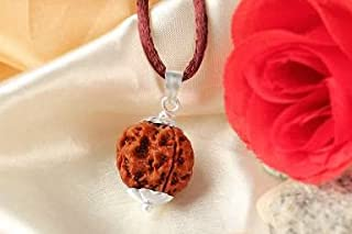 The Millennium Gallery 6 Chhe Mukhi Rudraksha Original Certified AAA+++ Quality Nepali Best Round Bead with Silver Pendant...