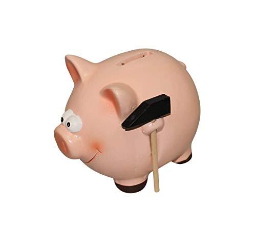 ARTECSIS Sparschwein mit Hammer Rosa Schwein aus Keramik für Münzen und Scheine Normalgröße