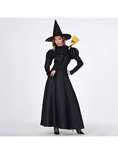 GBYAY Disfraz de Halloween para Mujer, Talla Grande, Disfraz de Bruja para Adultos, Disfraz de Bruja Negra