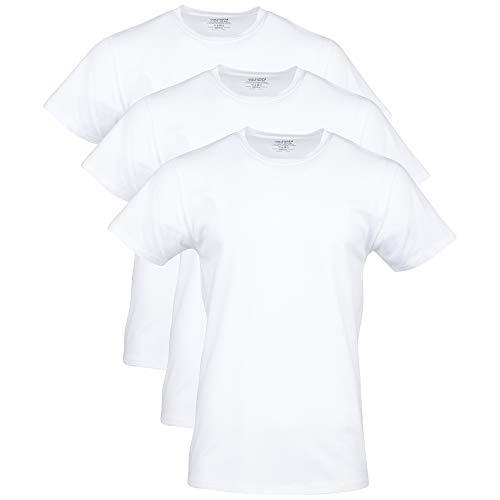 Gildan Herren Cotton Stretch Crew T-Shirt Unterwsche, Weiß (Artic White) (3er-Pack), Groß